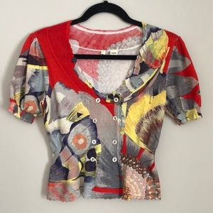 Anthropologie MOTH Short Sleeve Cardigan Top S